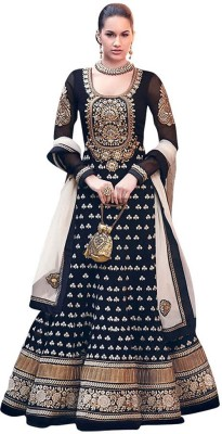 JK Fabrics Georgette Embroidered Salwar Suit Dupatta Material