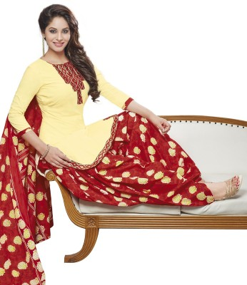 Jevi Prints Cotton Printed, Solid Salwar Suit Dupatta Material