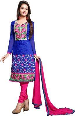Zombom Chanderi Embroidered Semi-stitched Salwar Suit Dupatta Material