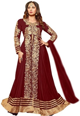 Thankar Net Embroidered Semi-stitched Salwar Suit Material