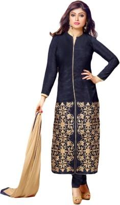 Prachi Silk Mills Silk Embroidered Semi-stitched Salwar Suit Dupatta Material