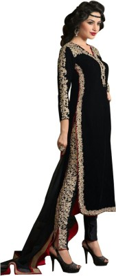 Fab Valley Velvet Embroidered Semi-stitched Salwar Suit Dupatta Material