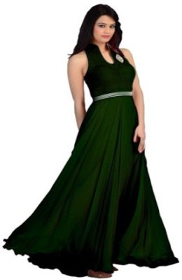 DWM Georgette Solid Semi-stitched Gown & Salwar Material