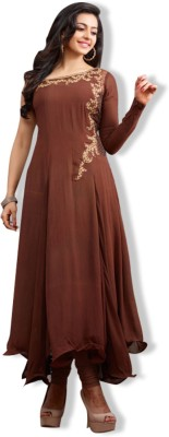 Fashion Forever Georgette Embroidered Semi-stitched Salwar Suit Material