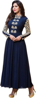 Suresh Georgette Embroidered Semi-stitched Gown & Salwar Material