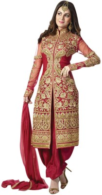 Vinus Georgette Embroidered Semi-stitched Salwar Suit Dupatta Material