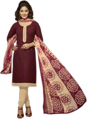 SLF Designers Cotton, Chiffon Solid Semi-stitched Salwar Suit Dupatta Material