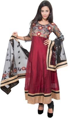 Nine Threads Cotton Silk Blend Embroidered Semi-stitched Salwar Suit Dupatta Material