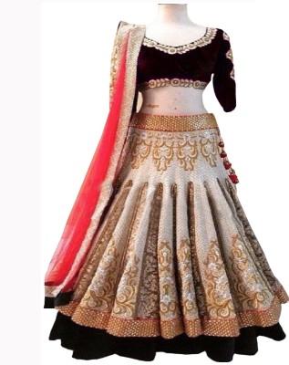 DealSeven Fashion Velvet Embroidered Lehenga Choli Material