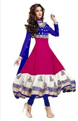 Nikshi Georgette Self Design Semi-stitched Salwar Suit Dupatta Material