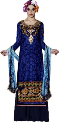 Meera Velvet Embellished, Printed Salwar Suit Dupatta Material