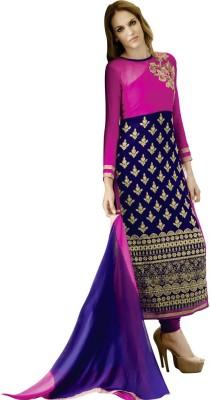 Saara Georgette Floral Print Semi-stitched Salwar Suit Dupatta Material at flipkart