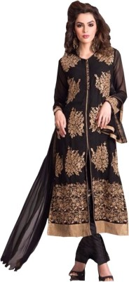 Fabzone Georgette Embroidered Semi-stitched Salwar Suit Dupatta Material