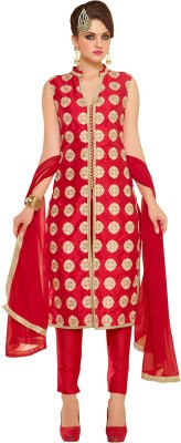 Neets Fashion Brocade, Art Silk, Organza Embroidered Semi-stitched Salwar Suit Dupatta Material