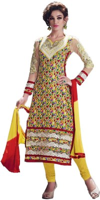 Archon Ecommerce Cotton Embroidered Semi-stitched Salwar Suit Dupatta Material