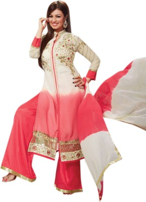 Khantil Clothing Georgette Embroidered Semi-stitched Salwar Suit Dupatta Material