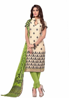 Shopkio Designer Chanderi Embroidered Semi-stitched Salwar Suit Dupatta Material