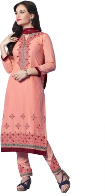 Kvsfab Cotton Embroidered Semi-stitched Salwar Suit Dupatta & Waistcoat Material at flipkart