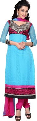Trendz Apparels Net Embroidered Dress/Top Material