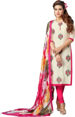 Santosafashion Chanderi Embroidered Semi-stitched Salwar Suit Dupatta Material