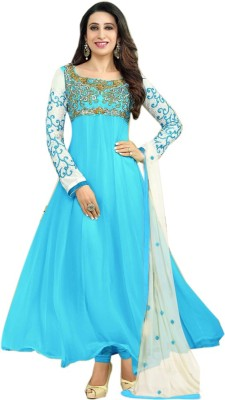 Maika Georgette Embroidered Semi-stitched Salwar Suit Dupatta Material