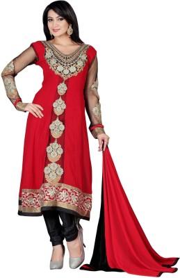 Ambaji Georgette Solid Semi-stitched Salwar Suit Dupatta Material