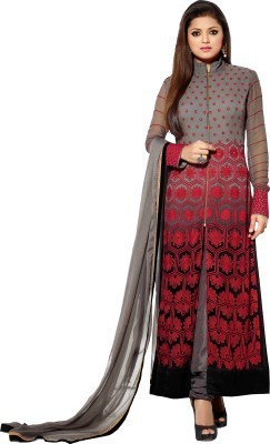 SHREEVILLA FASHION Georgette Embroidered Semi-stitched Gown, Salwar and Dupatta Material