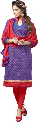 MOHITSCOLLECTIONS Chanderi Embellished Semi-stitched Salwar Suit Material