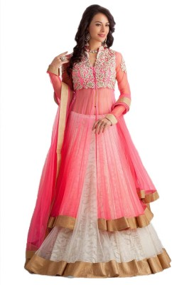 Nandani Fashion Net Embroidered Semi-stitched Lehenga Choli Material
