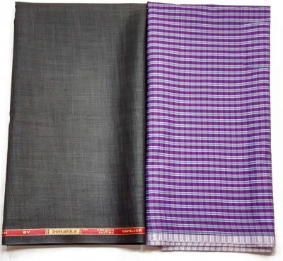 Gwalior Suitings Cotton Polyester Blend Checkered Shirt & Trouser Fabric(Un-stitched)