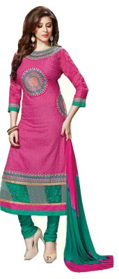 Fashion Ritmo Cotton, Net Embroidered, Self Design Salwar Suit Material