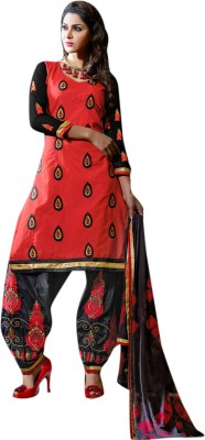 Viva N Diva Cotton Embroidered Semi-stitched Salwar Suit Dupatta Material