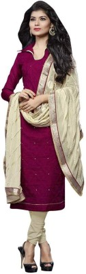 Nilkanth Communication Chanderi Embroidered Semi-stitched Salwar Suit Dupatta Material