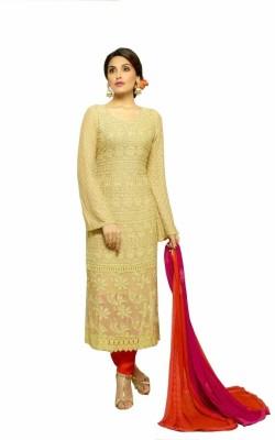 Ganapati Textile Chiffon Embroidered Semi-stitched Salwar Suit Dupatta Material
