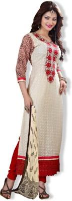 OrangeFab Georgette, Viscose Embroidered, Printed Semi-stitched Salwar Suit Dupatta Material