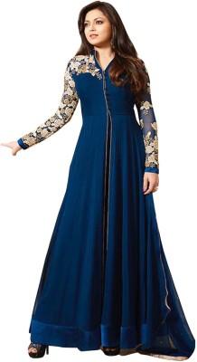 Fabfirki Fashion Hub Georgette Embroidered Semi-stitched Salwar Suit Material