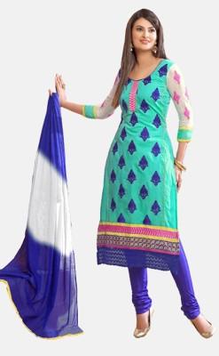 Fstore Chanderi Embroidered Semi-stitched Salwar Suit Dupatta Material