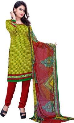 LongFashion Crepe Embroidered Semi-stitched Salwar Suit Dupatta Material