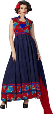 Thankar Silk Embroidered Semi-stitched Salwar Suit Dupatta Material at flipkart