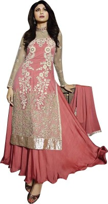 OrangeFab Net, Georgette Embroidered Semi-stitched Salwar Suit Dupatta Material