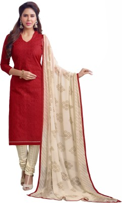 Fabcart Chanderi Embroidered Semi-stitched Salwar Suit Dupatta Material
