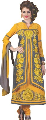 Indo Essence Cotton Embroidered Semi-stitched Salwar Suit Dupatta Material