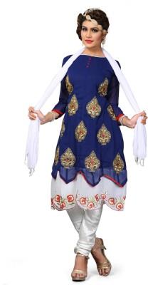 Fashion Dream Georgette Embroidered Semi-stitched Salwar Suit Dupatta Material
