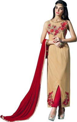 Fabliva Georgette Embroidered Semi-stitched Salwar Suit Dupatta Material at flipkart