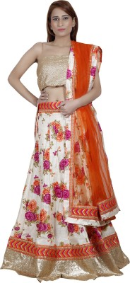 Raanai Jacquard, Net Floral Print Semi-stitched Lehenga Choli Material
