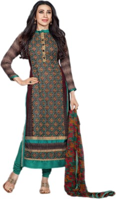 Rozdeal Chiffon Embroidered Semi-stitched Salwar Suit Dupatta Material