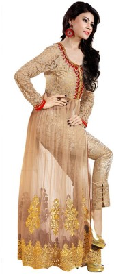 PRN Net Embroidered Semi-stitched Salwar Suit Dupatta Material