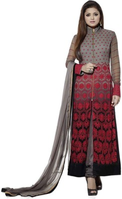 LongFashion Georgette Embroidered Semi-stitched Salwar Suit Dupatta Material
