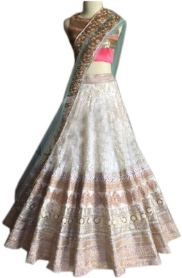 mGm Creation Net Self Design Semi-stitched Lehenga Choli Material