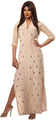 JS Pavitra Fabrics Georgette Embroidered Kurti Fabric